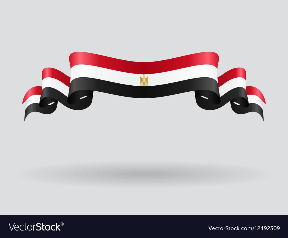 Egyptian wavy flag vector image
