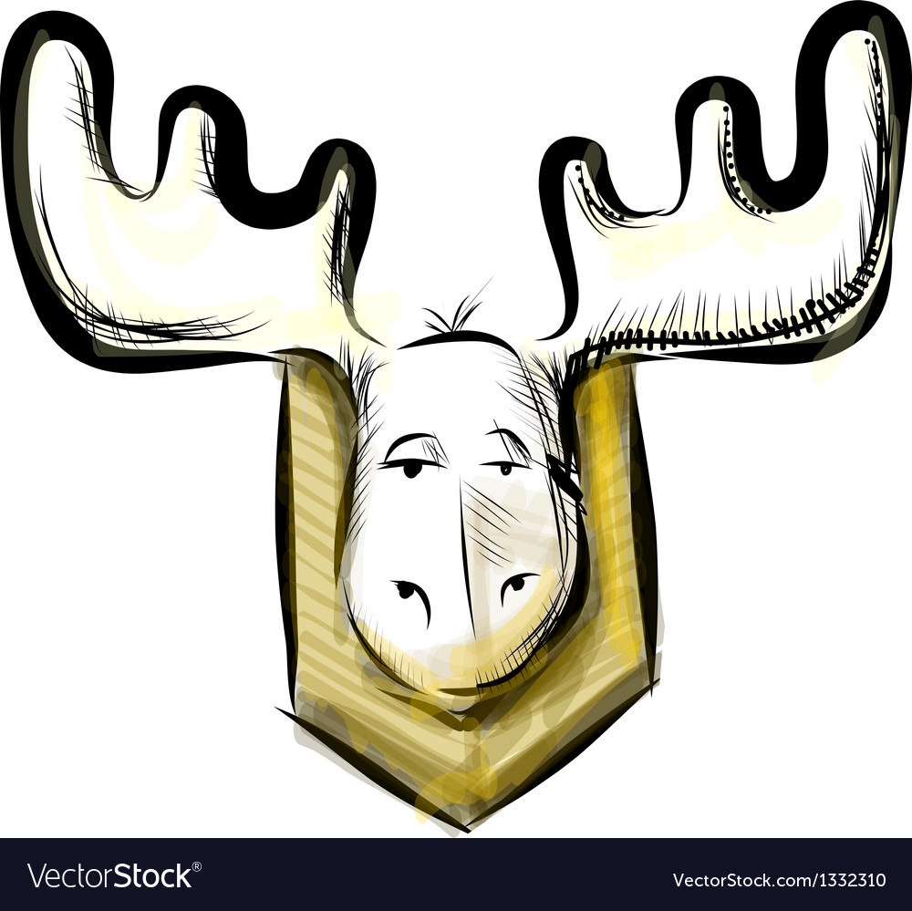 Deer head sketch vector image