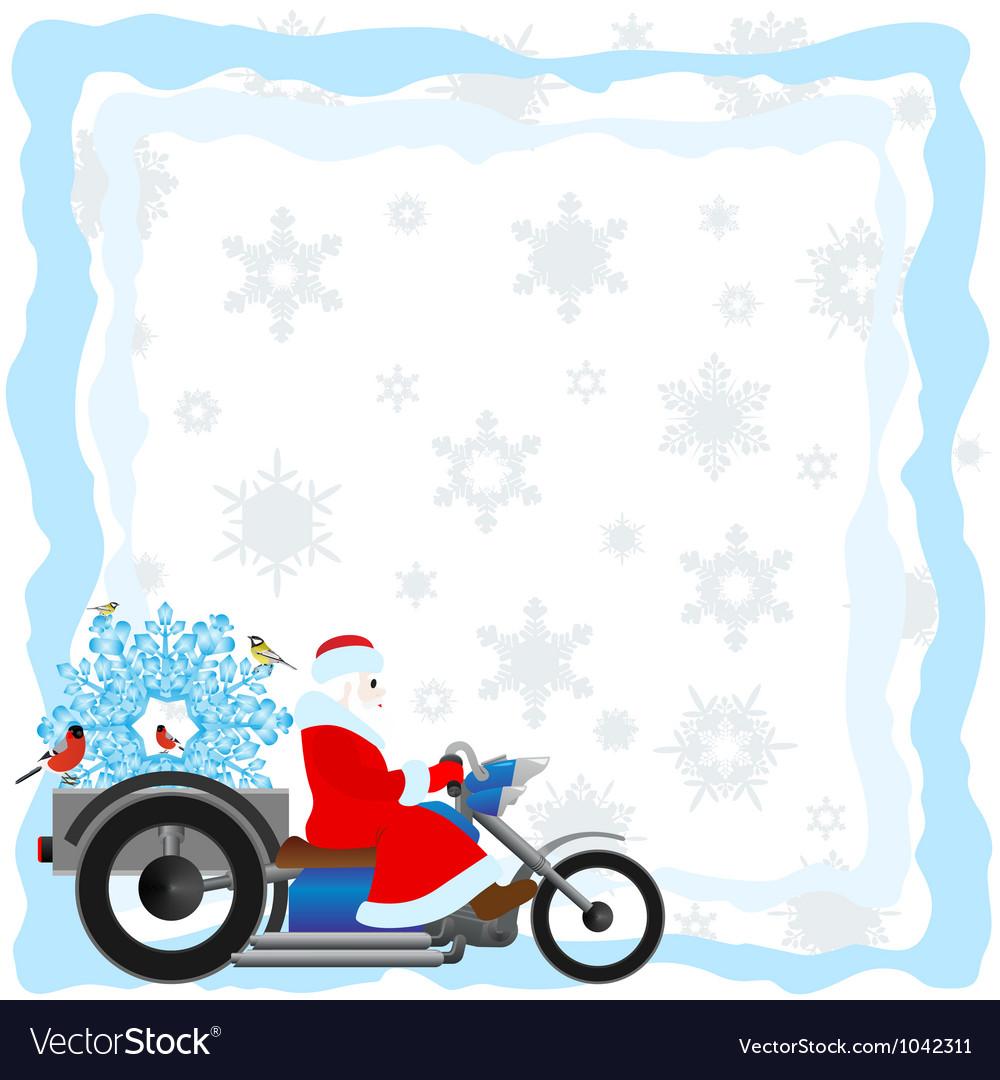 Santa on a motorcycle vector image