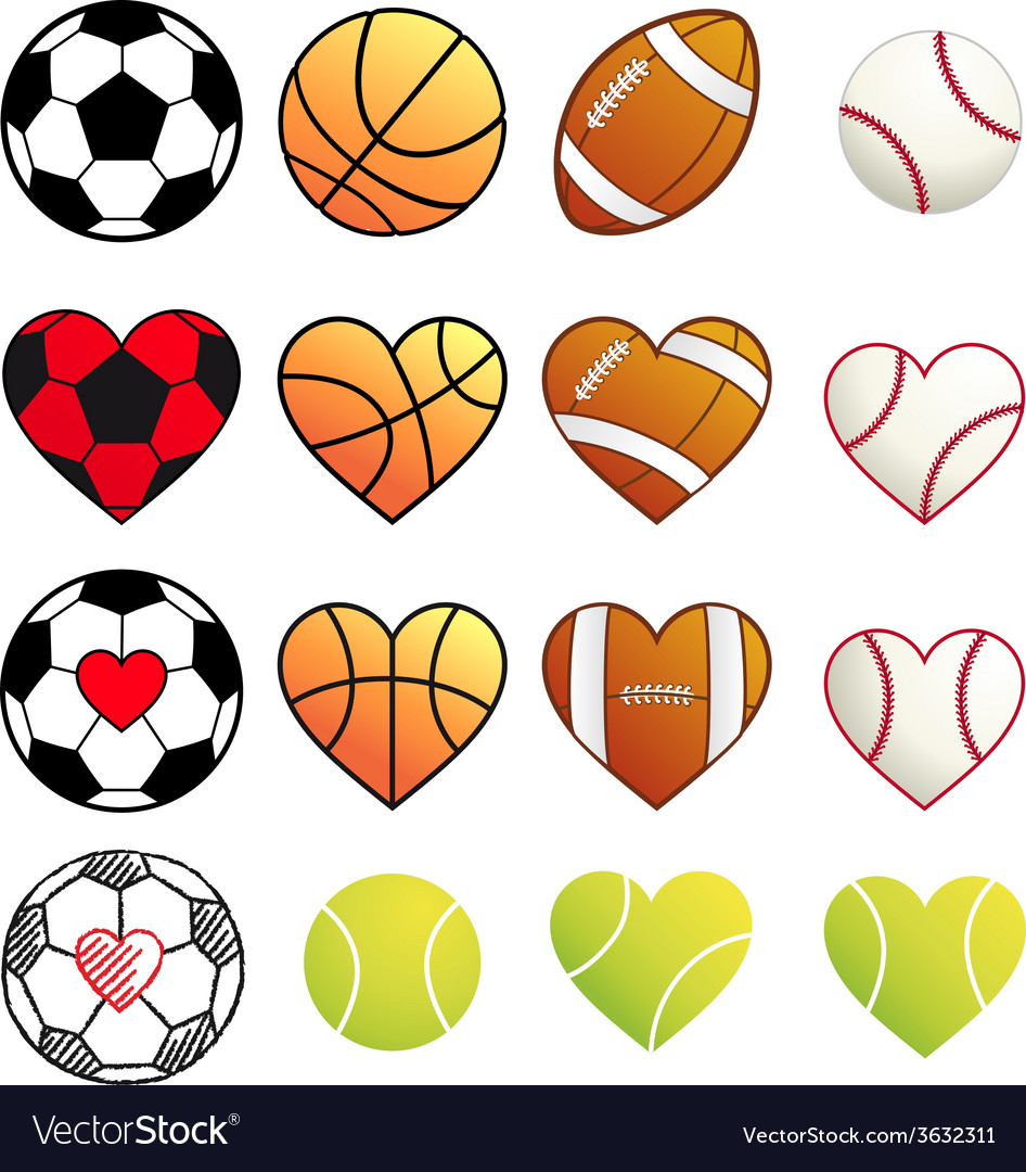 Sport balls and hearts set vector image
