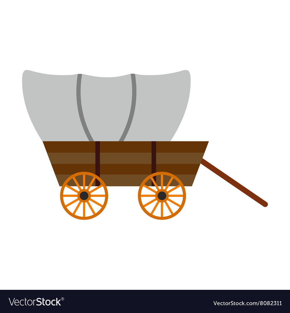 Western covered wagon icon Royalty Free Vector Image