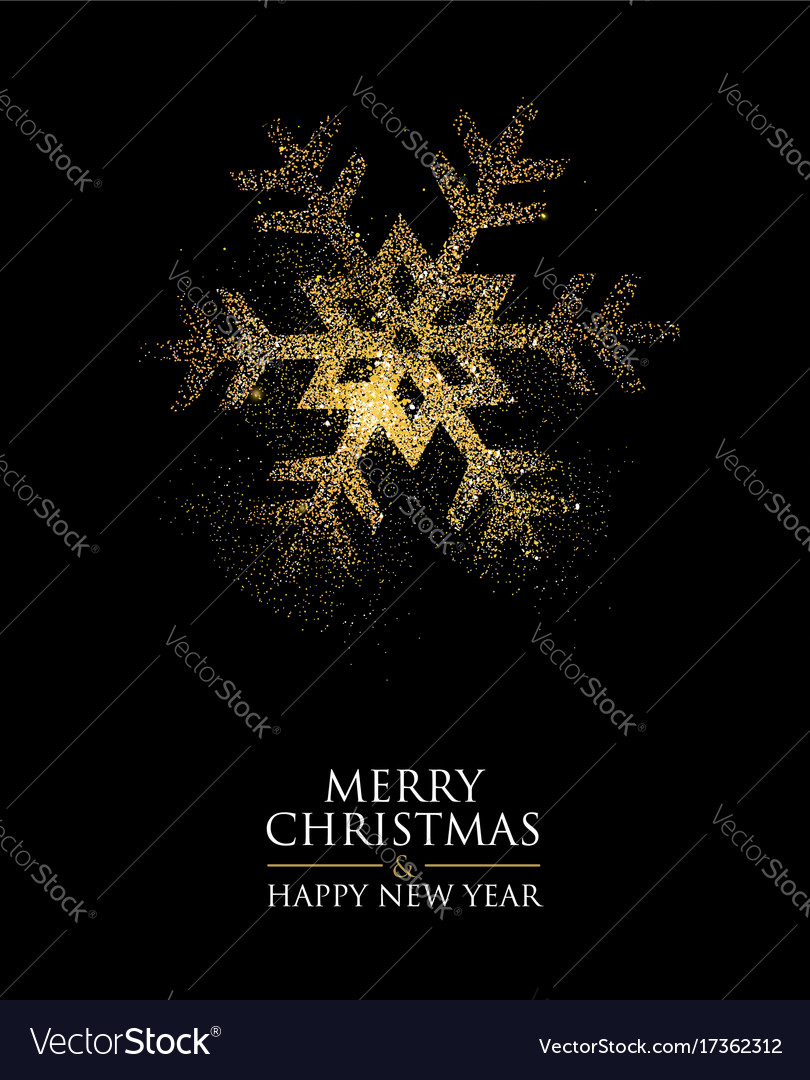 Christmas and new year gold glitter snowflake card vector image