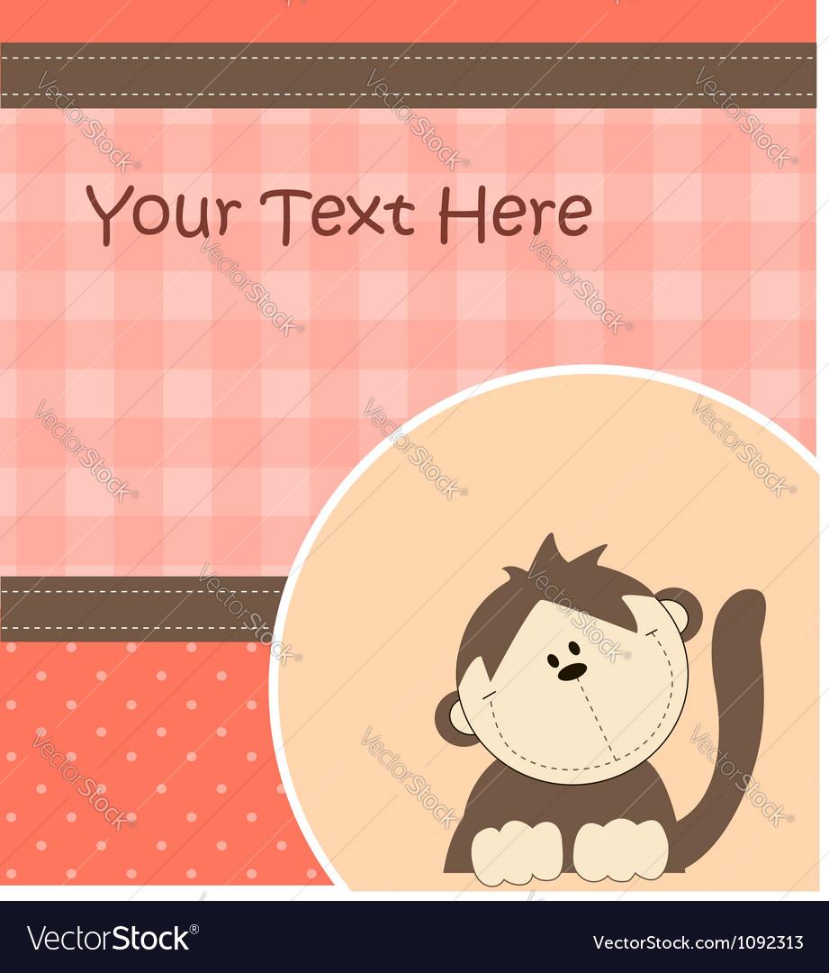 Card with cartoon monkey vector image