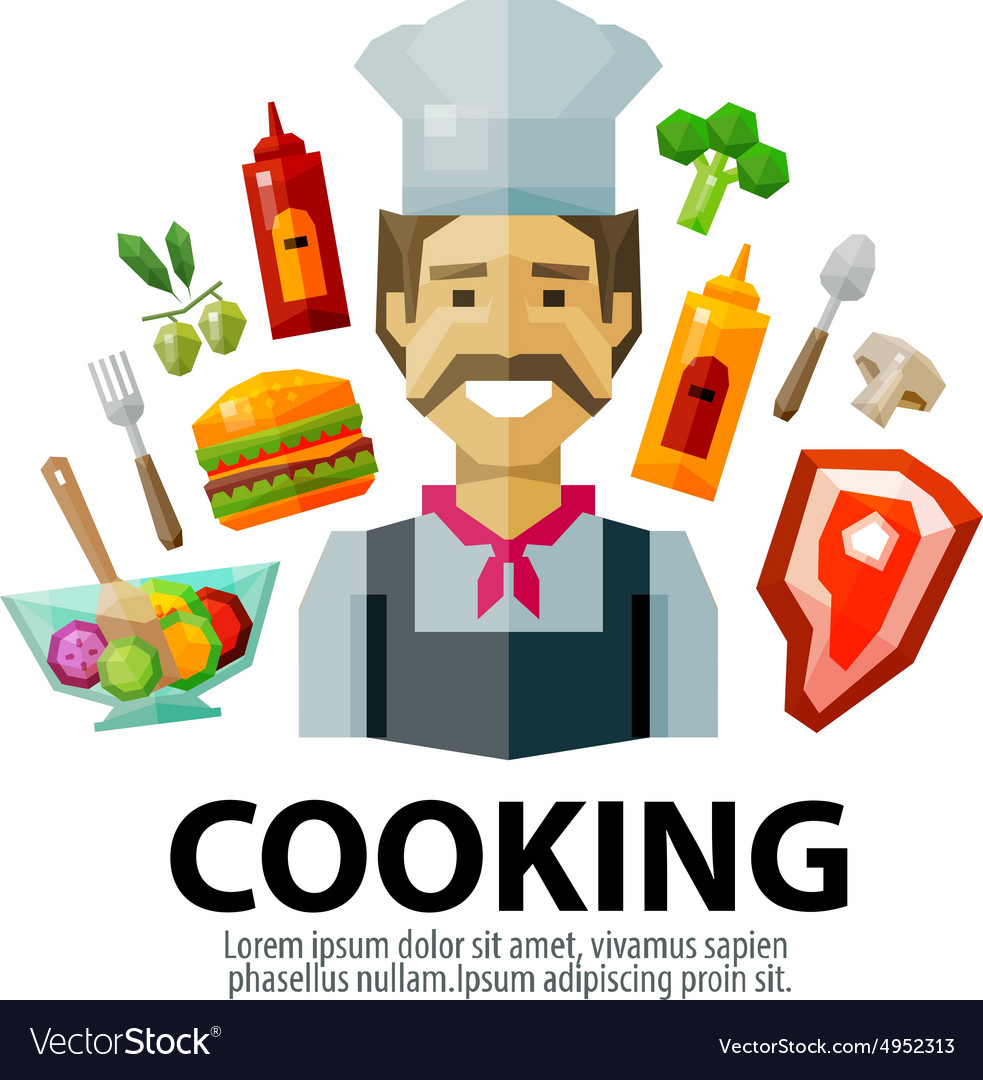 Cooking logo design template fresh food or vector image