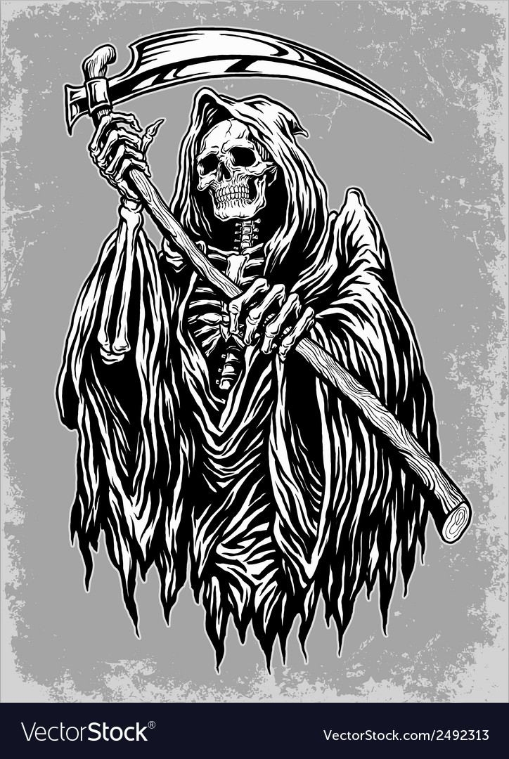 hand inked grim reaper royalty free vector image Hand in Hand Logo Hand and Heart Logo