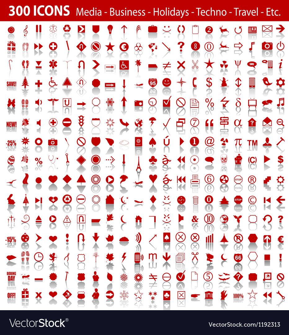 Red 300 universal web icons set with shadow vector image