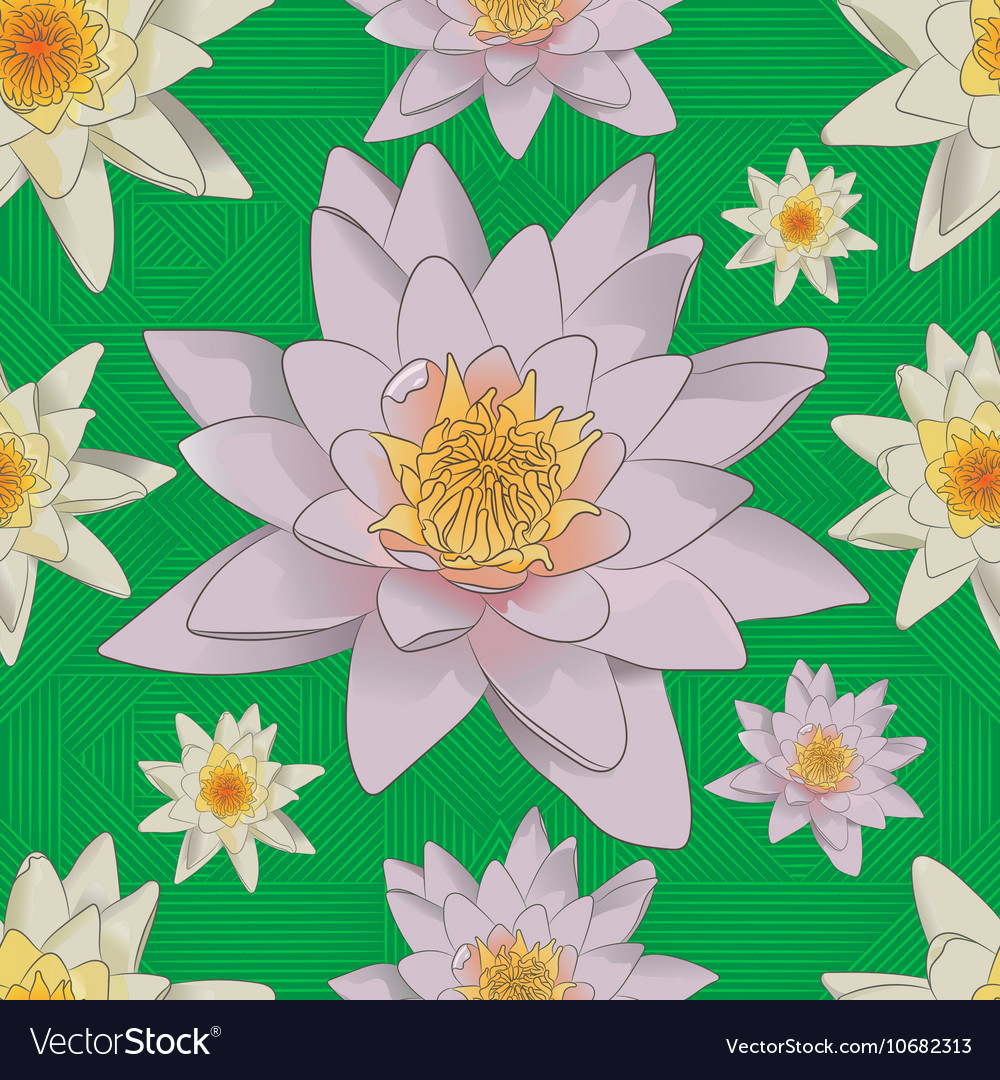Seamless floral background with white lilies vector image