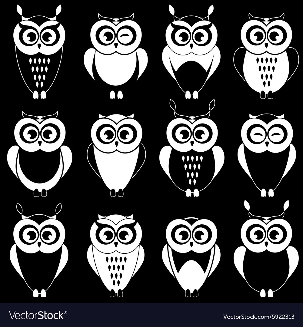 set of cute black and white owls royalty free vector image