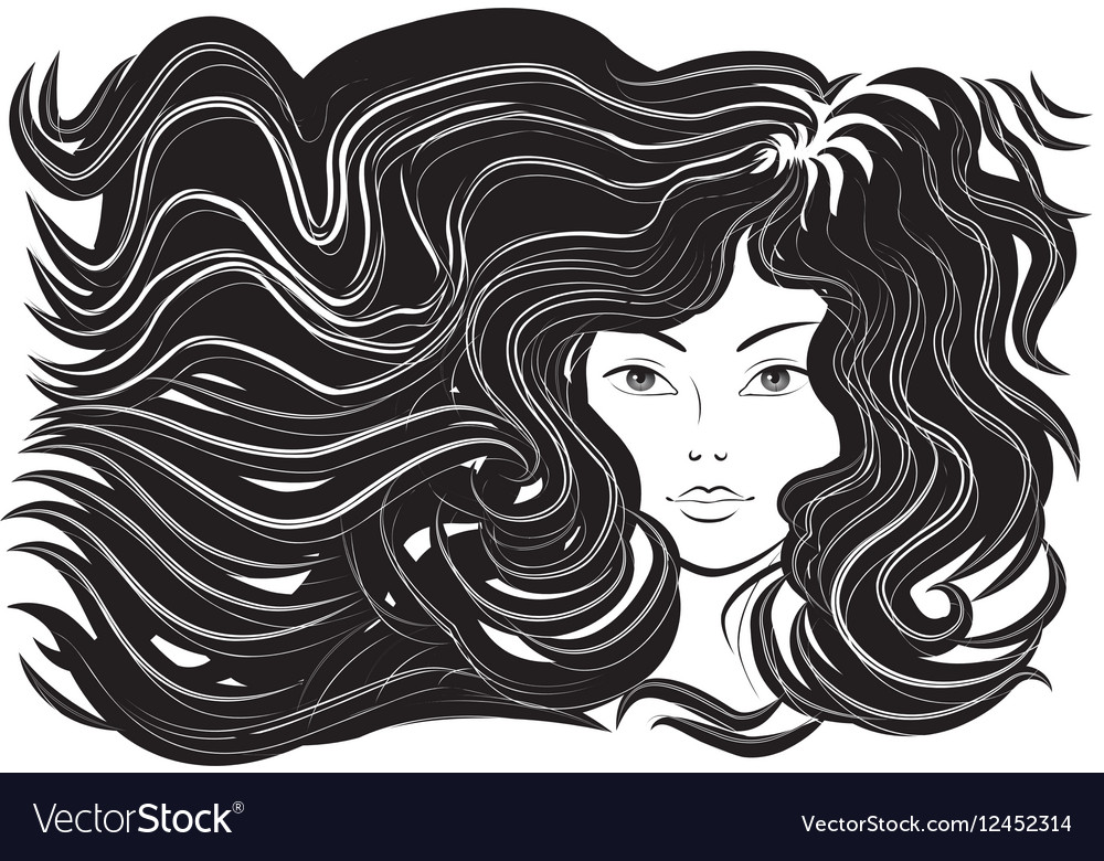 Beautiful woman with flowing hair vector image