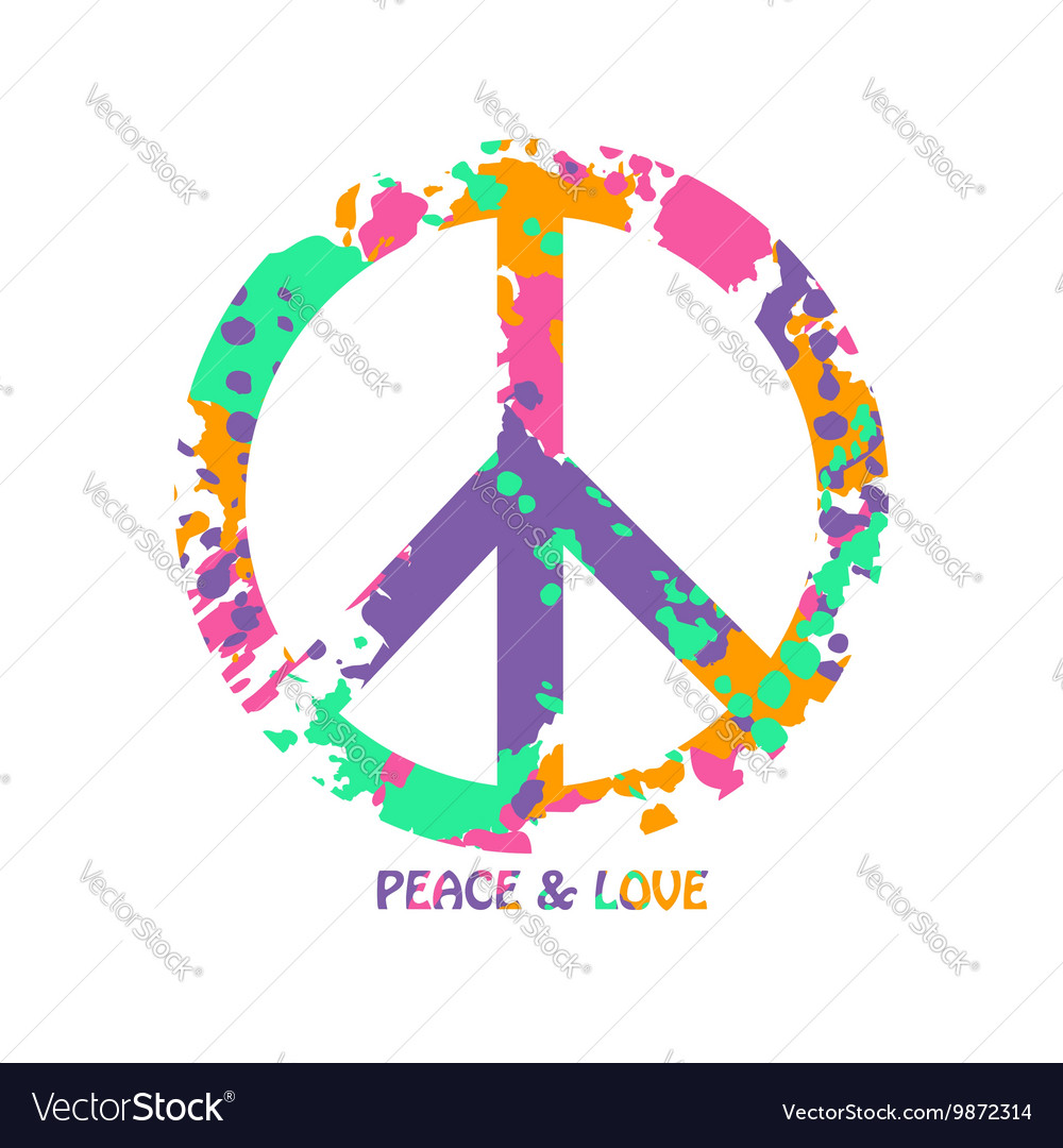 Colorful peace and love hippie symbol royalty free vector colorful peace and love hippie symbol vector image biocorpaavc Images