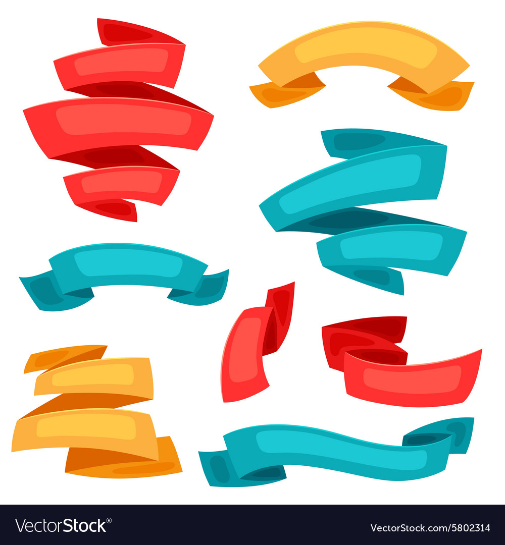 Set of decorative ribbons and banners in cartoon vector image