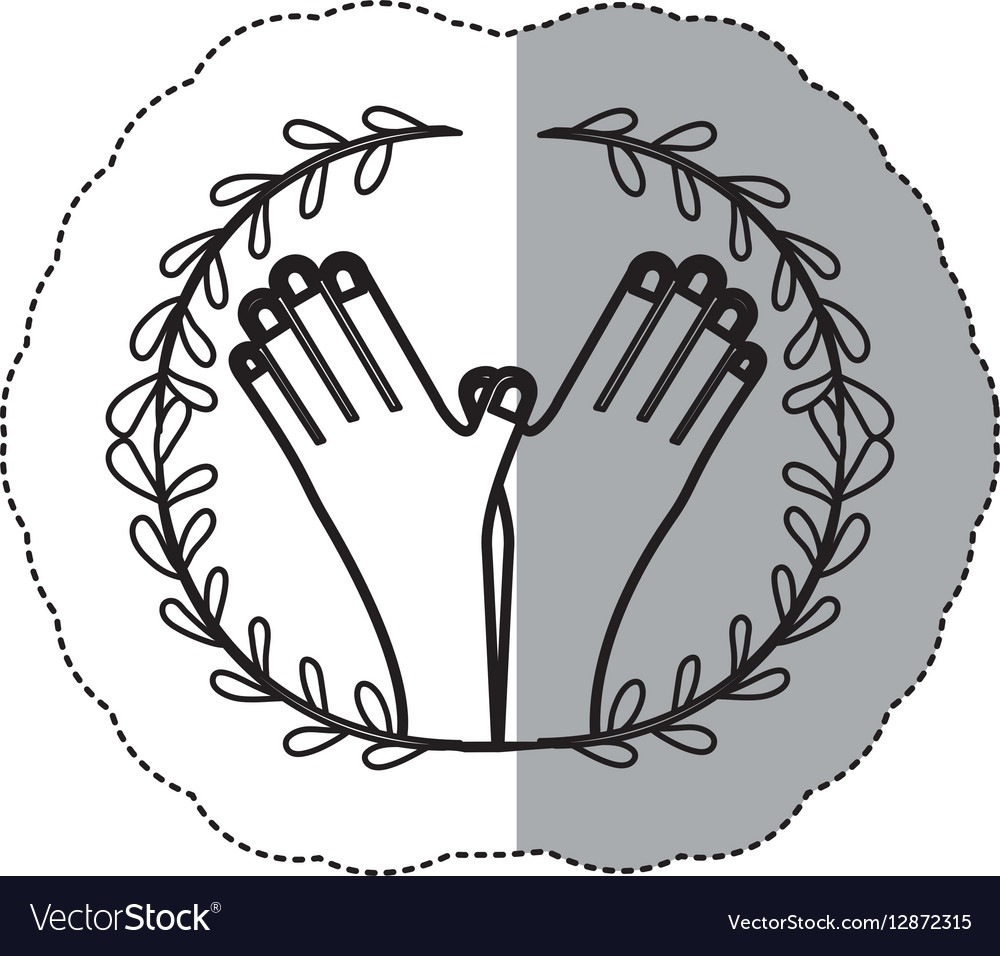Sticker contour ornament leaves with crossed hand vector image