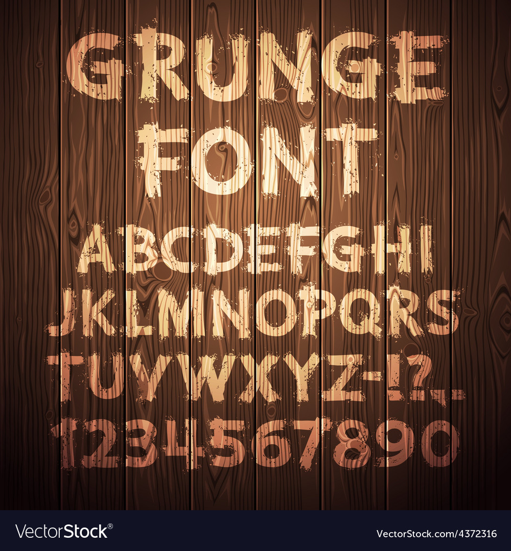 Grunge Letters and Numbers on Wooden Background vector image