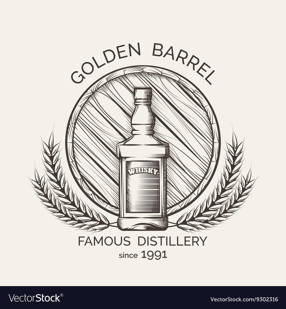 Whisky distillery emblem vector image