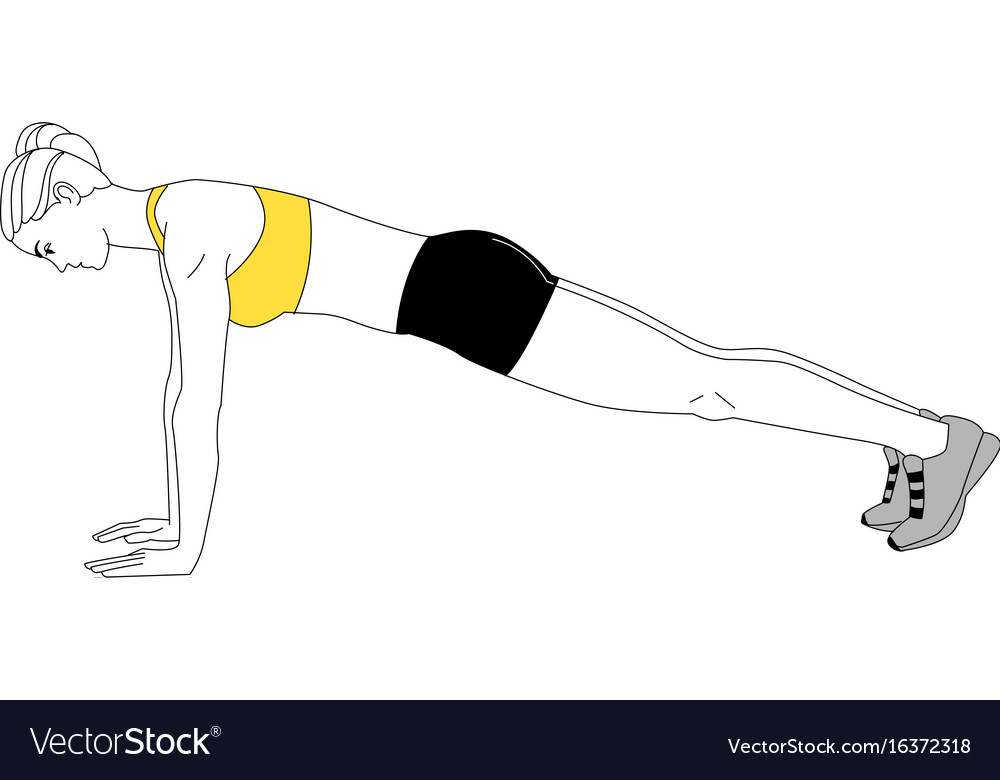 Girl is doing sports exercises bench press vector image