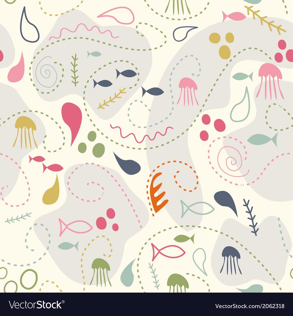 Sea world seamless pattern under water world vector image