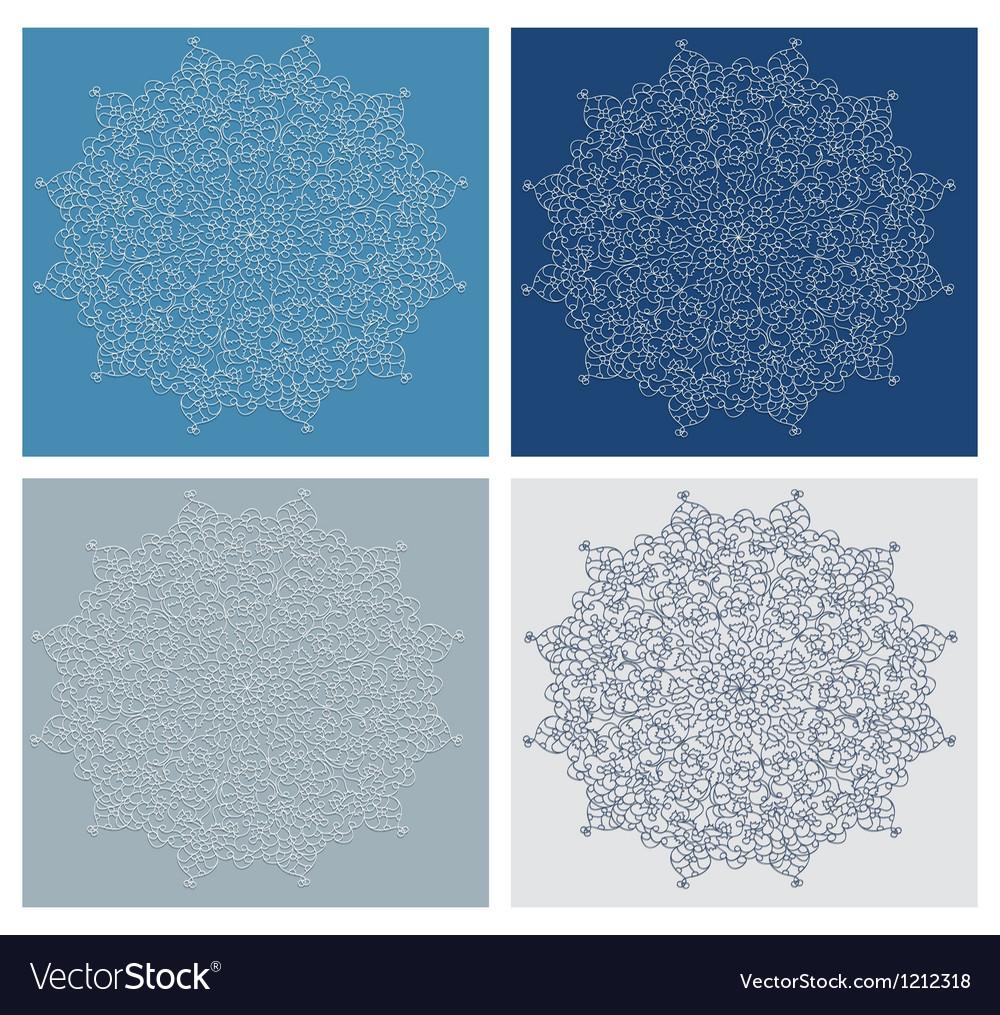 Set of vintage snowflake on blue background vector image