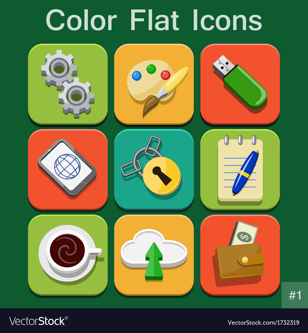 Universal Color Flat Icons vector image