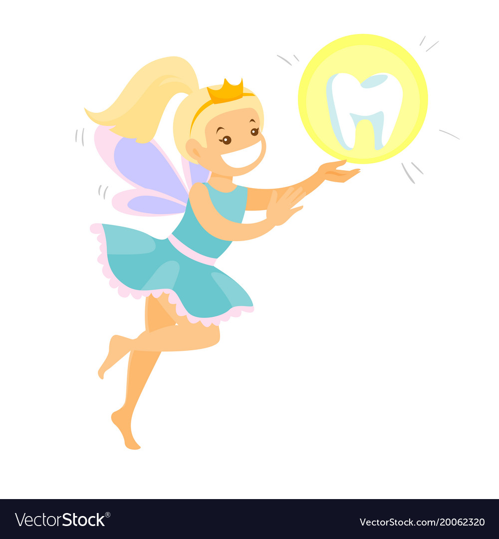 Cute blonde tooth fairy flying with a tooth vector image