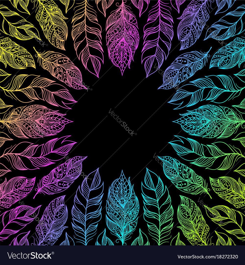 Frame with hand drawn feathers vector image
