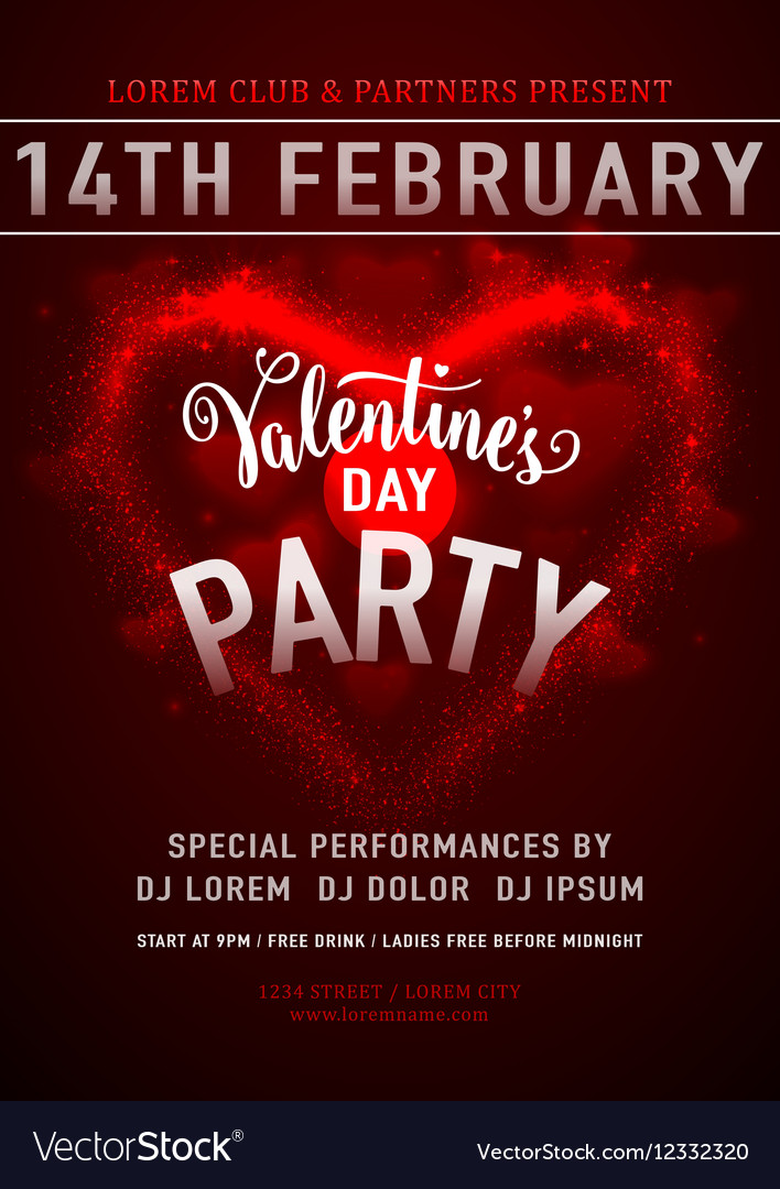 Invitation valentines day vector image