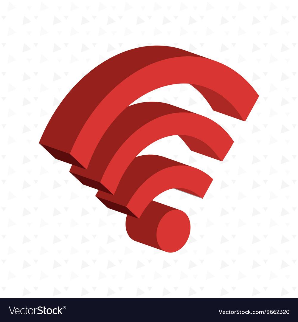Isometric signal wifi isolated icon design vector image