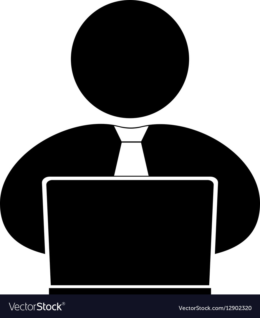 People with computer person laptop ico vector image