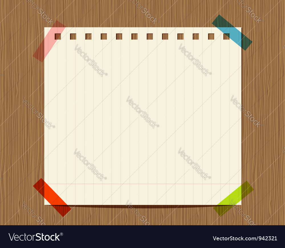 Lined paper of notebook on wooden wall insert your Vector Image