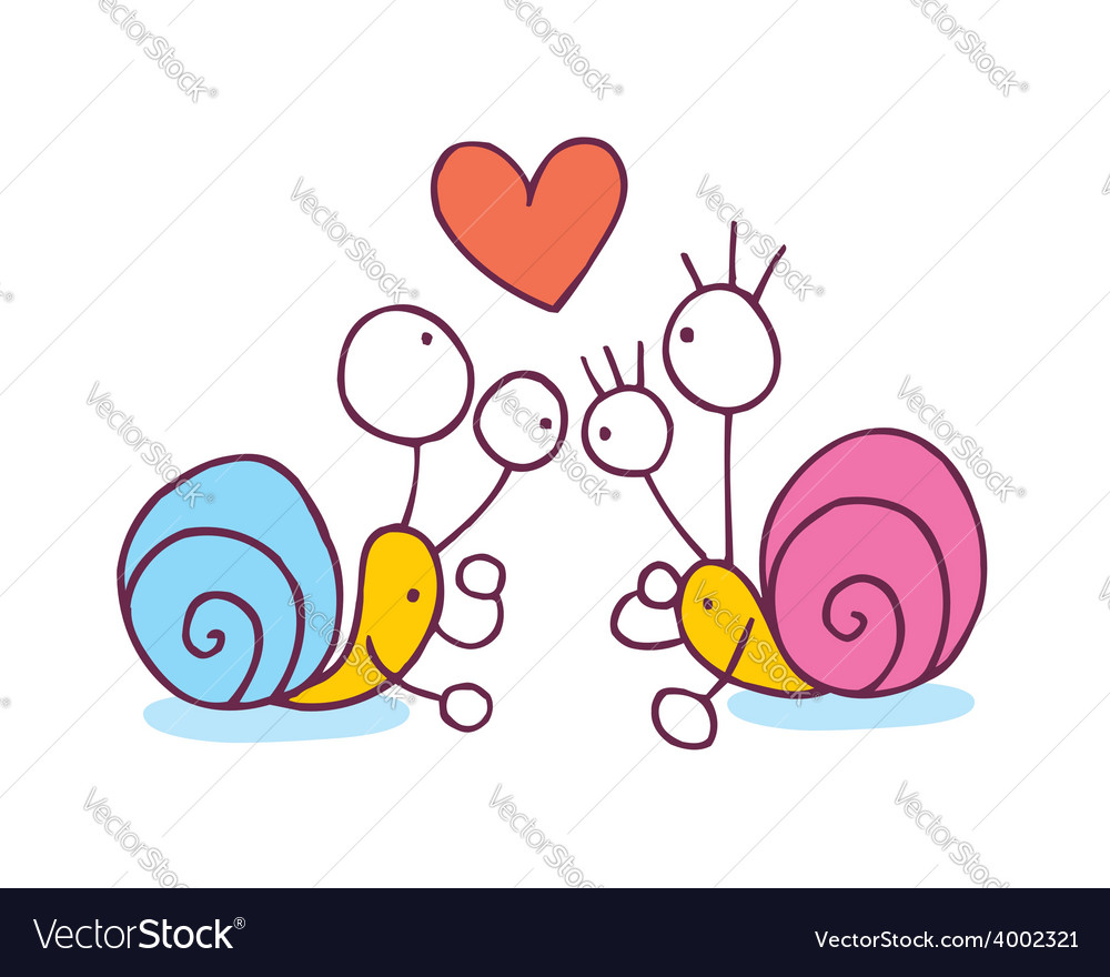 Snails In Love cartoon vector image