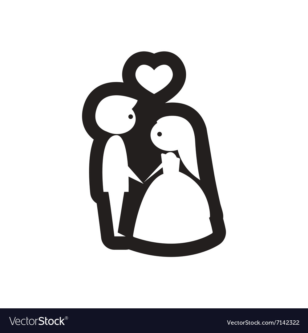 Flat icon in black and white bride and groom
