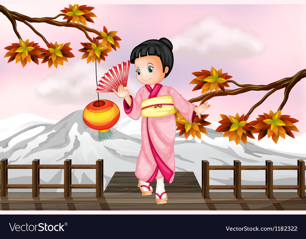 Cartoon Japanese Girl vector image