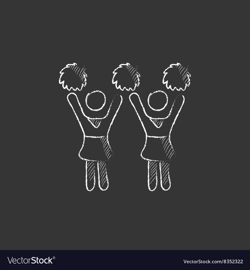 Cheerleaders Drawn in chalk icon vector image