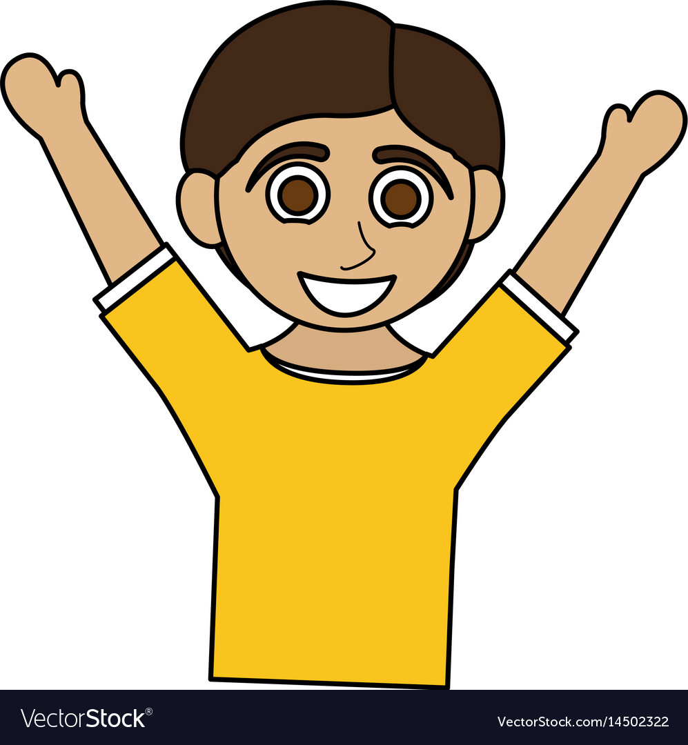 Colorful caricature half body boy with open arms vector image