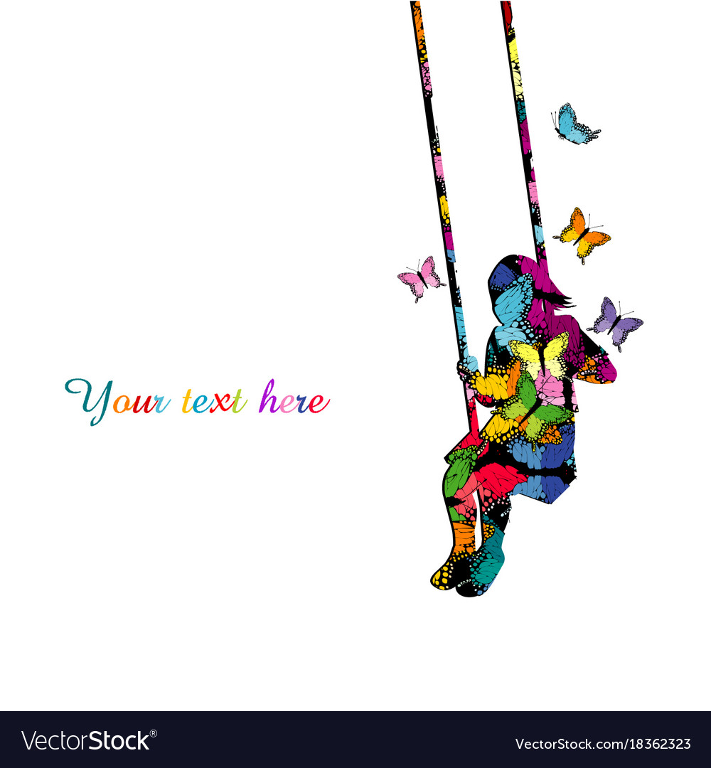 colorful silhouette of a girl sitting on a swing vector image