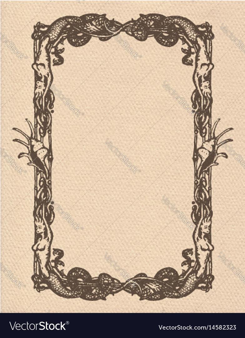 Vintage mermaids frame vector image
