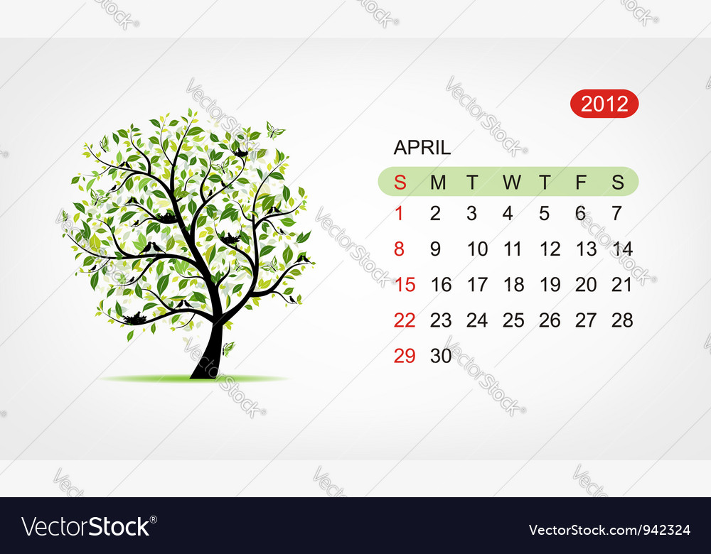 Calendar 2012 april Art tree design vector image