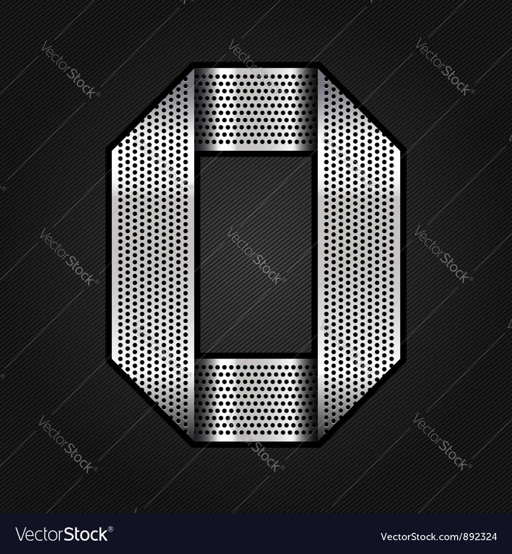 Number metal chrome ribbon - 0 - zero vector image