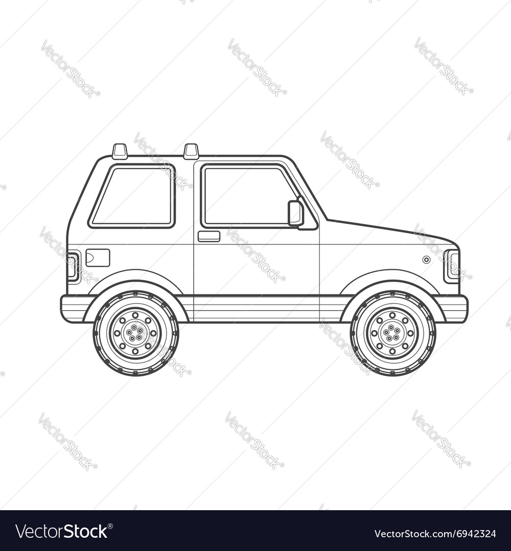 Outline Off Road Suv Car Body Style Icon Vector Image