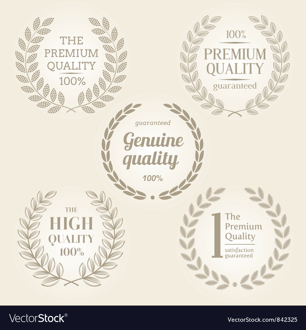 Quality emblems with laurel wreath vector image