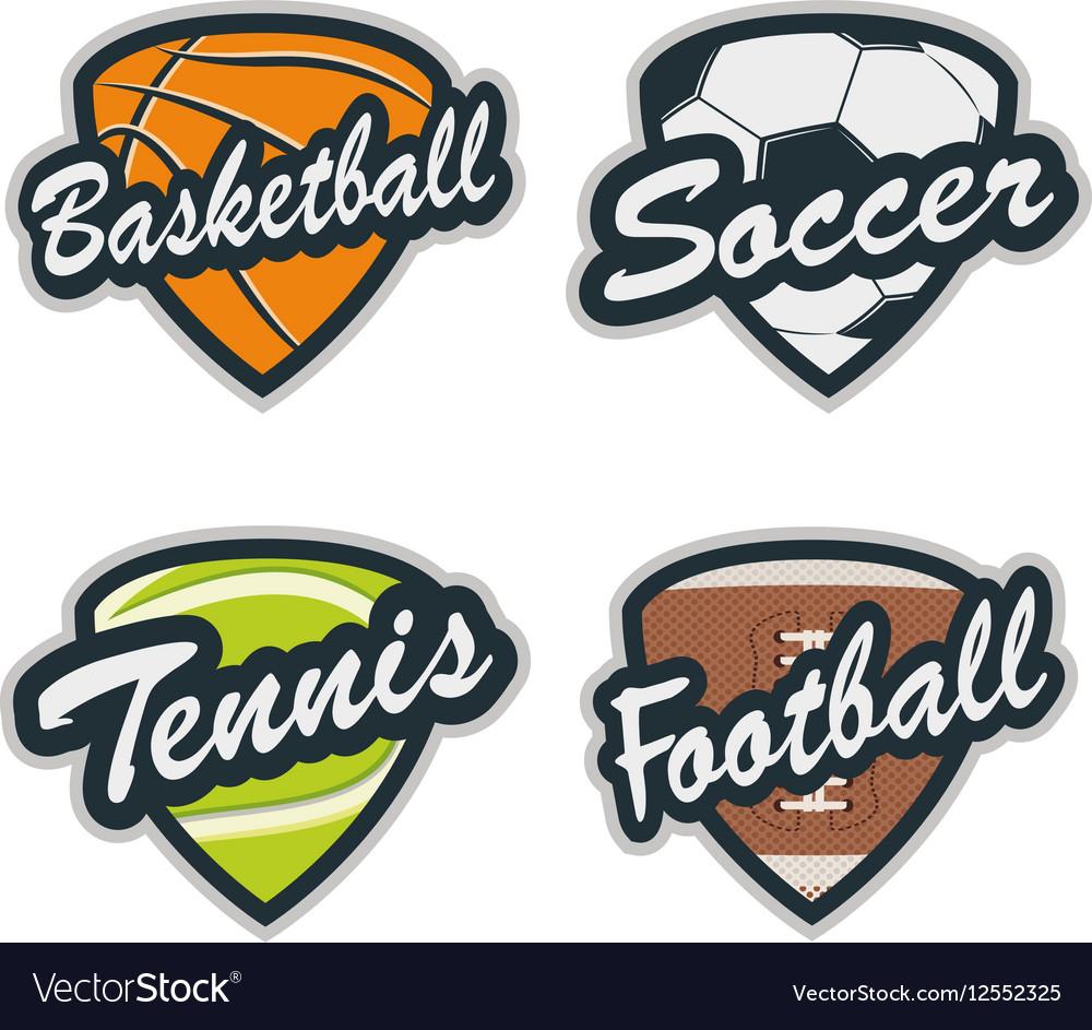 Set of Baseball Tennis Soccer Basketball and vector image