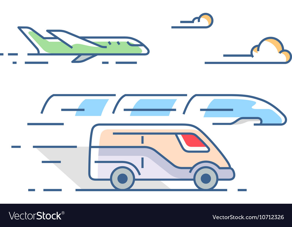 Air road and rail transport vector image