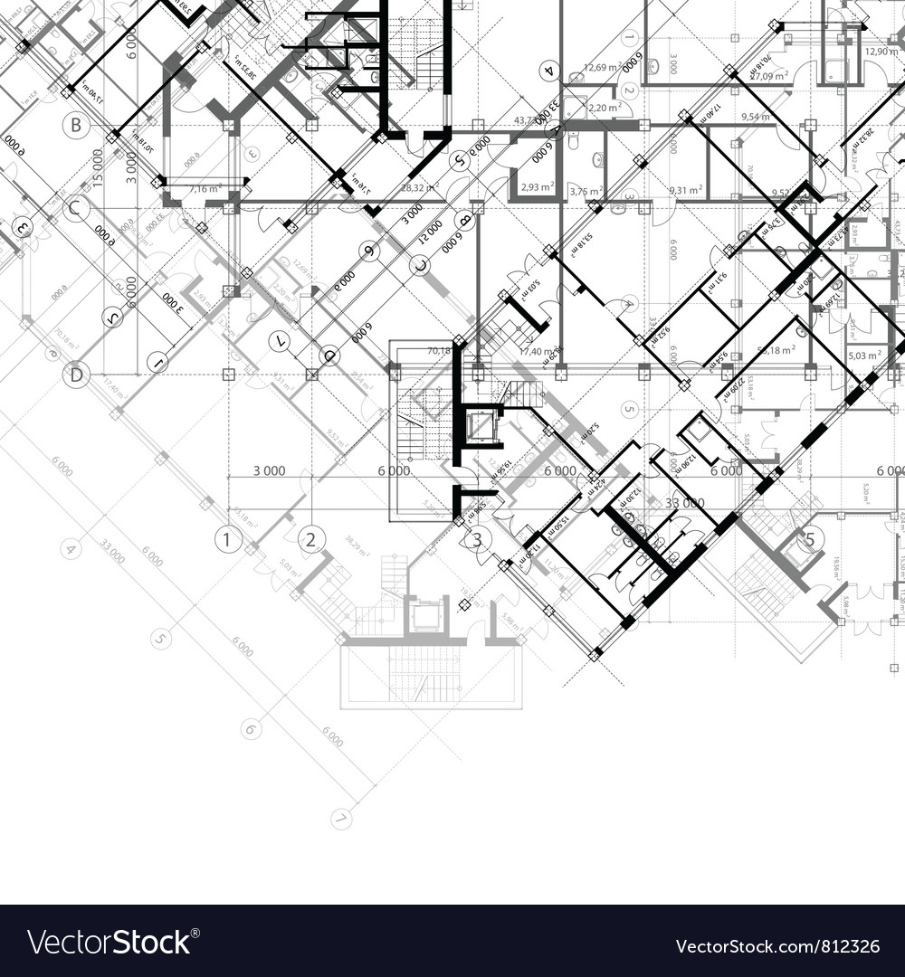 Architectural black and white background vector image