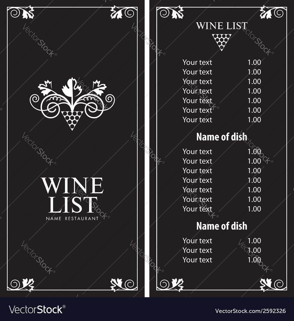 Wine list vector image