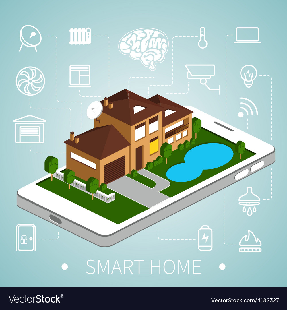 Isometric smart home vector image