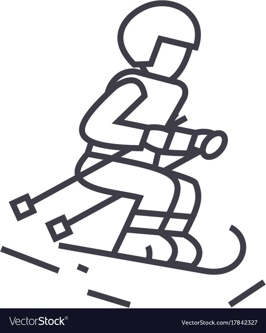 Skier line icon sign on vector image