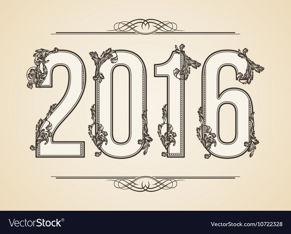 Calligraphic Year number 2016 Design vector image