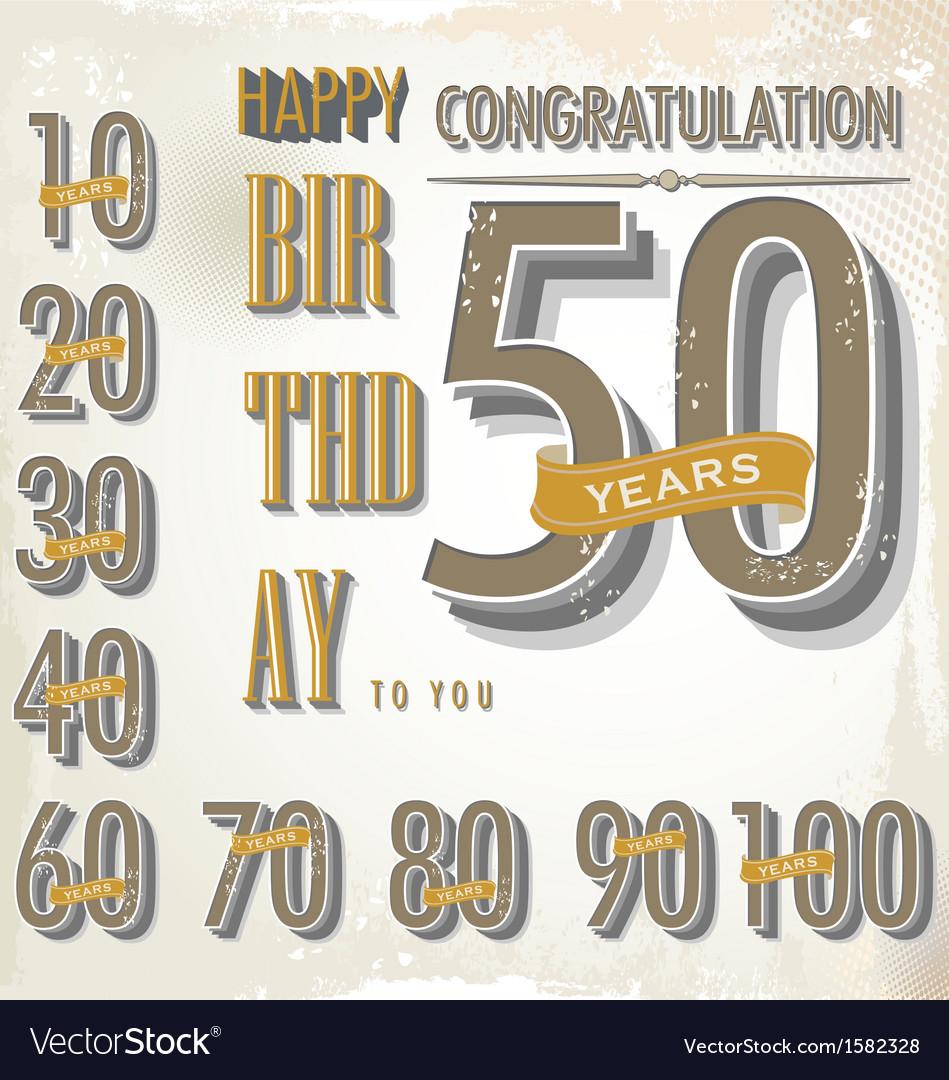 Happy birthday retro sign collection vector image