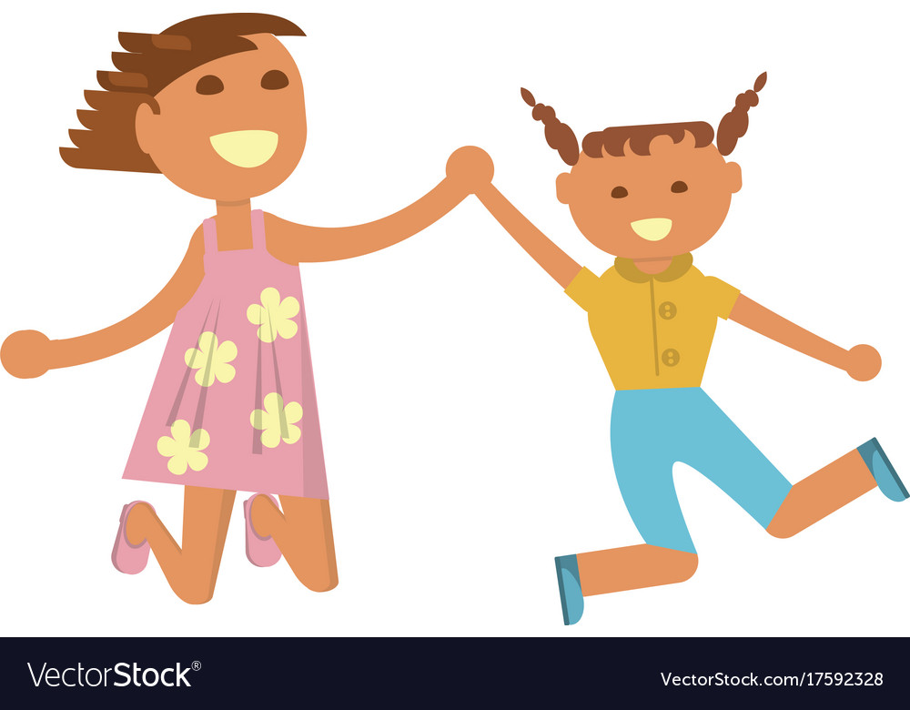 Happy little girls vector image