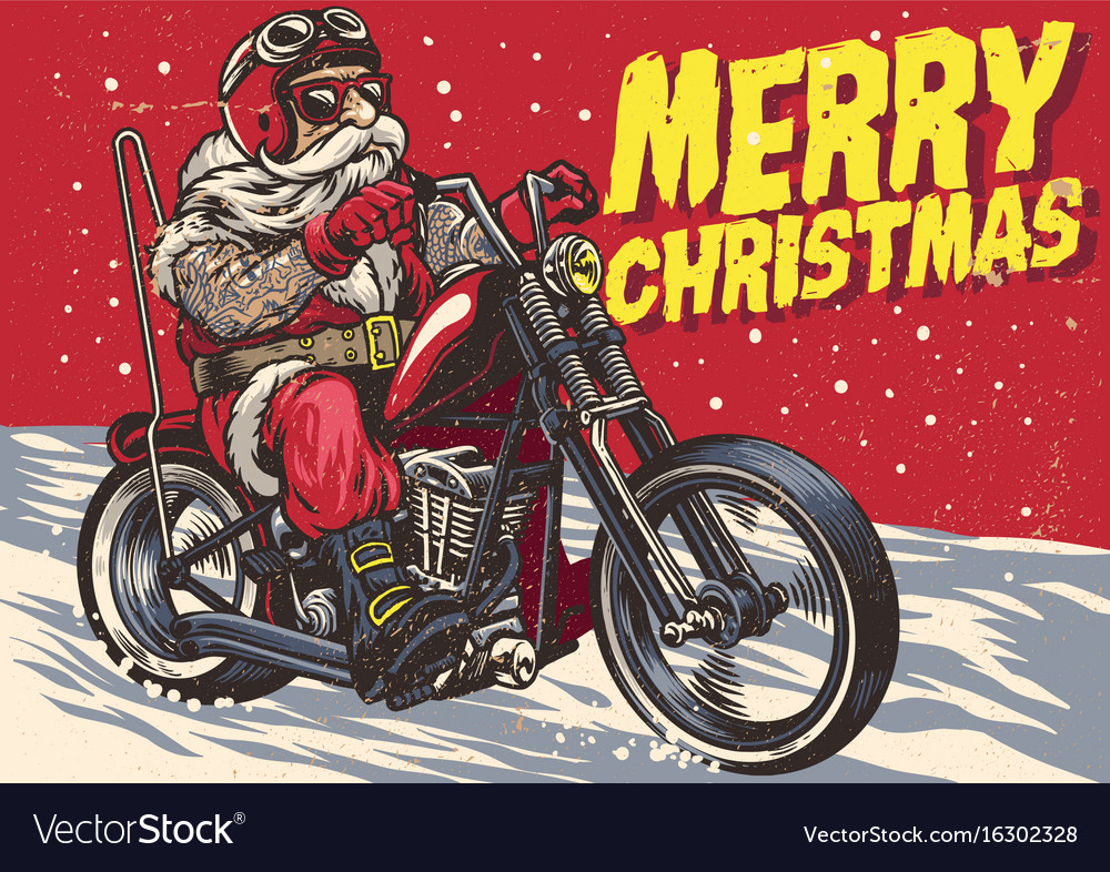 Senior biker wear santa claus costume and riding vector image