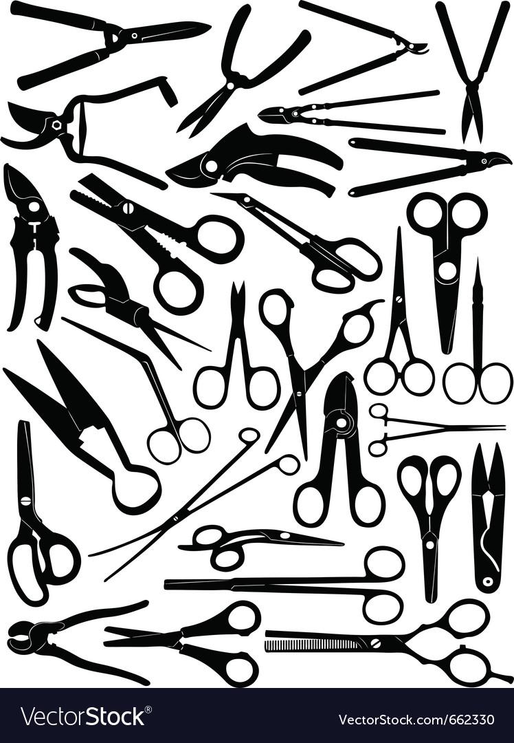 Different scissors set vector image